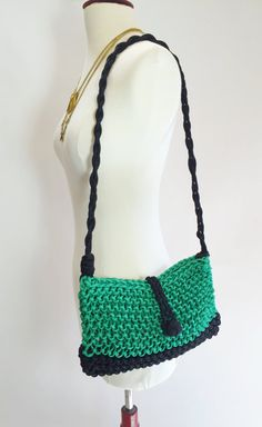 Kelley Green / Black Knitted Paracord Nylon Bag with Monkey Fist Knot Closure and Round Braid Strap