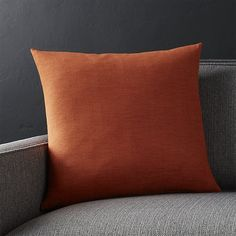 "Linden Copper Orange 18"" Pillow with Down-Alternative Insert"