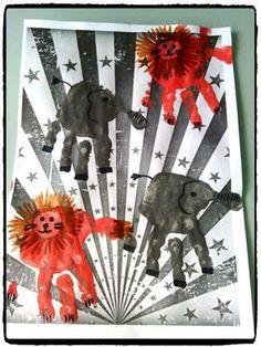 bricolage cirque, éléphants et lions en empreintes de mains, enfant Circus Crafts, Circus Art, Activities For Kids, Crafts For Kids, Lion Craft, Dance Camp, Art Plastique, Moose Art, Animation