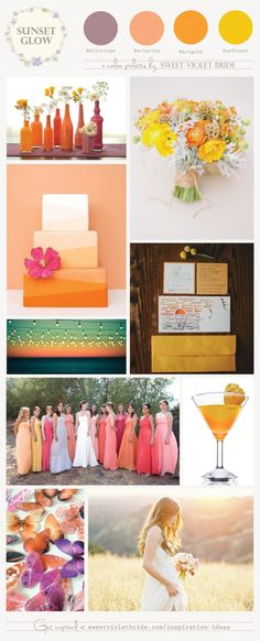 Sunset glow color palette by Sweet Violet Bride - http://sweetvioletbride.com/2013/07/wedding-color-palette-sunset-glow/