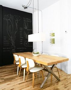 chalkboard wall & illustration - could work wonders at reception - can change the artwork annually or whenever one wants to