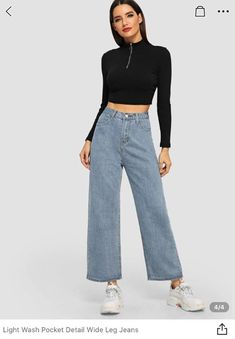 Blue Casual Denim Plain Fabric has no stretch All Jeans, size features are:Bust: ,Length: ,Sleeve Length: Ripped Knee Jeans, Ripped Jeggings, Cropped Wide Leg Jeans, All Jeans, Jeans Denim, Flare Leg Jeans, High Jeans, High Waist Jeans, Wide Leg Pants