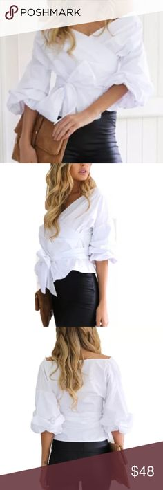 White Ruffle Wrap Around Blouse  Gorgeous white off the shoulder blouse. Size large but does run small. Tops Blouses