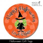 Halloween Gift Tags with Witch on Orange
