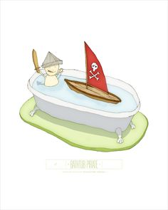 """I'm excited to bring you another one of my prints – """"BATHTUB PIRATE"""" Print Size: 8"""" × 10"""" Edition Size: 250 Illustration by Jesse Kuhn"""