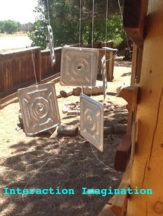 """the outside... listening to how different materials create sound - metal"" -Interaction Imagination at Boulder Journey School ≈ ≈ http://pinterest.com/kinderooacademy/auditory-play/"