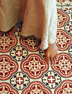 tapis en vinyle Beija Flor donc, mais imitation carreaux de ciment anciens