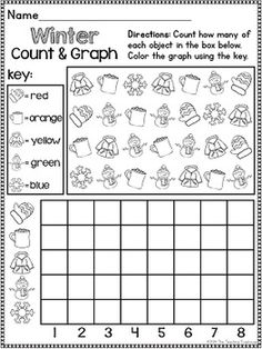 This packet contains Winter themed alphabet practice, rhyming, syllables, reading comprehension, patterns, numbers 1-20, counting, adding, subtracting, shapes, and more! 81 ready to use, no prep printables in ink saving black and white. Aligned to kindergarten Common Core standards-can also be used as a review pack for first grade. $