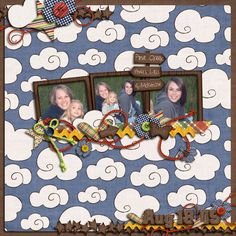 summer scrapbook idea | creatively crop the same photo to zoom in on the individuals