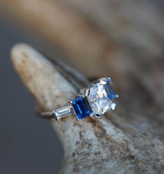 Moissanite, Blue Sapphire, and Aquamarine Stones Set on White Gold Band. Handcrafted by Staghead Designs.