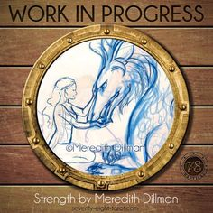 Today's Work in Progress is this stunning Strength card, being created by Meredith Dillman, @uminomamori for the 78 Tarot Nautical deck. #78Tarot #WIP #Tarot #Art #Strength #Arcana #MajorArcana #MeredithDillman #TarotArt #Nautical #78TarotNautical
