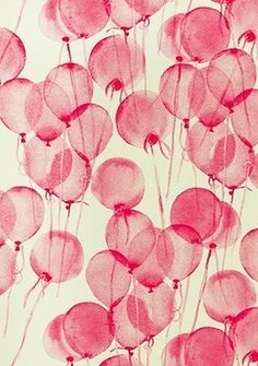 beautiful red balloons (textile design) by Leah Bartholomew & Beth Orpin via the design files - Love this! I'd frame a square of it for my gallery wall. Ballon Rose, Whatsapp Pink, Pink Balloons, Printed Balloons, Birthday Balloons, Transparent Balloons, Floating Balloons, Helium Balloons, The Design Files