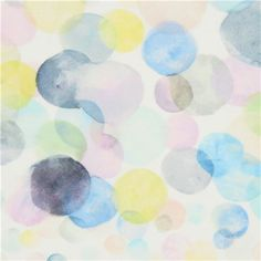white soft Ayano Ichiyanagi lawn cotton fabric with colorful dots in different sizes done in a watercolor painting style, Material: cotton, Fabric Width: Lawn Fabric, Cotton Fabric, Mermaid Cartoon, Bleach Uses, Modes4u, Japanese Fabric, Fabric Patterns, Mermaids