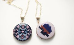 Happenstance Lockets (Of A Kind, $65) - graphic motif, colorful, larger than the typical locket, homemade in Portland.