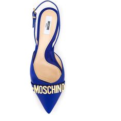 Moschino slingback flats (€405) ❤ liked on Polyvore featuring shoes, flats, blue flats, pointed toe flats, blue slingback shoes, flat pumps and pointed toe slingback flats