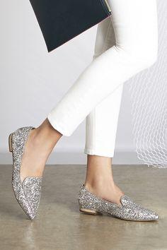 Silver Glitter Smoking Slippers | Sole Society Cammila