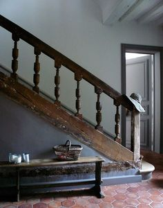 ...from thegiftsoflife.tumblr.com, a big, wide-spaced baluster at the stairs and gorgeous hex terracotta tile floor
