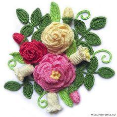 Delicadezas en crochet Gabriela: Ramos de flores en crochet con esquemas