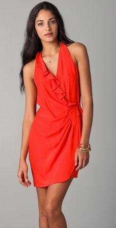 Bop Parker coral wrap dress. I love coral and I love this dress! Cute cocktail wear