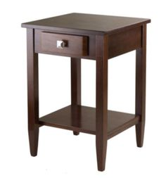 One-Drawer End Table With Shelf Living Room Furniture Antique Walnut Finish New