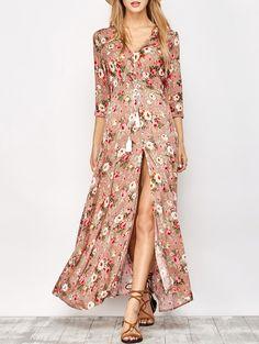 Front Button Maxi Floral V Neck Dress FLORAL: Maxi Dresses L | ZAFUL