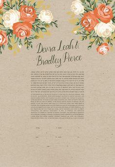 Ketubah - Blooming Roses on Kraft Paper #ketubah
