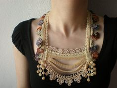Primula Vulgaris ... Beaded Crochet Necklace Cream Beige