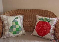 Patchwork Pillow, Block Design, Pear, Terrace, Pillow Cases, Sewing Projects, Cotton Fabric, Strawberry, Delicate