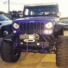 """by @its_that_purplejk """"#beautysbeast lookin mean!  #gottagetnewtires #jeeplife #jeepgirl #purplejk #jeepher #jeepbeef #jku #jkusquad  #georgiajeepers #lightbar #angryeyes"""