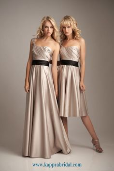 #Gold (dark champagne) colour for #bridesmaid dress with wedding black sash #short or long dress