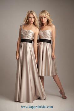 #Gold #champagne colour for bridesmaid dress with wedding black sash. #shortdress #longdress