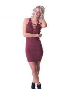 Loving the lace up Burgundy Brook dress it's perfect for dinner or a night out! shop it now from britain&brooks