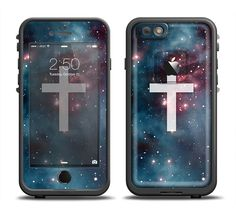 The Vector White Cross v2 over Bright Pink Nebula Space Apple iPhone 6/6s Plus LifeProof Fre Case Skin Set from DesignSkinz