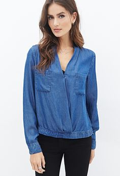 Chambray Surplice Top | LOVE21 - 2000100843