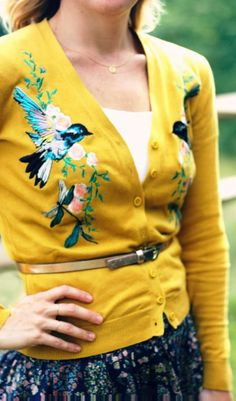 Mustard comfy cardigan with bird design