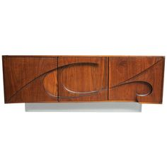 Michael Coffey Swahilli Cabinet, ca.1977. An early example of Michael Coffeys' Signature work. Signed and dated, sitting on a lucite base