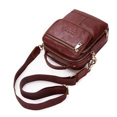 Vintage Multi-functional Genuine Leather Shoulder Crossbody Bag For Men is worth buying - NewChic Mobile Pouch Bag, Backpack Bags, Leather Backpack, Leather Bag, Cheap Crossbody Bags, Messenger Bag Men, Bag Sale, Creations, Man Bags