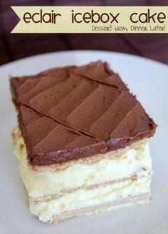 Eclair Icebox Cake | DessertNowDinnerLater.com #nobake #dessert #cake