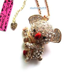 New Fashion Bling Crystal Cute Koala Pendant Long Sweater Chain Necklaces