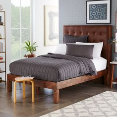 Grid-Tufted Leather Bed - Molasses   west elm