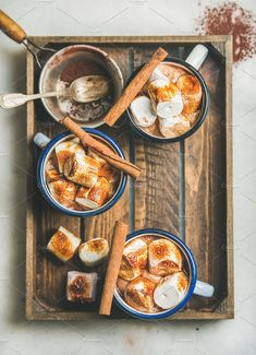 Buy Hot chocolate with cinnamon and roasted marshmallows in wooden tray by sonyakamoz on PhotoDune. Hot chocolate in enamel mugs with cinnamon and roasted marshmallows in wooden tray over grey background, selective focus Roasting Marshmallows, Hot Chocolate And Marshmallows, Hot Chocolate Images, Chocolate Food, Food Photography Props, Autumn Photography, Winter Drinks, Aesthetic Food, Food Styling