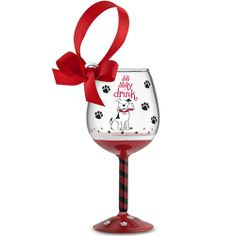 Wine Glass Ornament - Sit, Stay, Drink - Santa Paws will love seeing this on the tree.