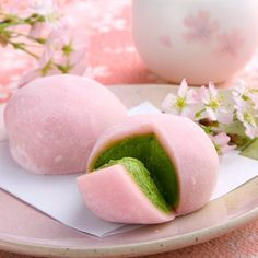 "Pink Green Tea Mochi. It looks good even though I have no idea how it tastes..... I don't care if Penny only likes ""regular"" Mochi!!!!"