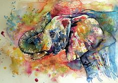 Big Colorful Elephant Art Print by Kovacs Anna Brigitta