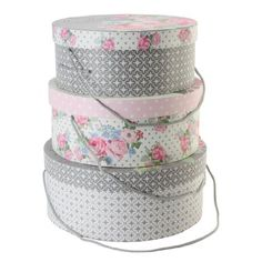 Tri-Coastal Design French Linen Set of 3 Round Hat Boxes