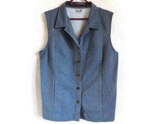 FINN KARELIA Vintage Women's Vest Summer Clothing Vintage Waistcoat Blue Vest Long Waistcoat Vest With Pockets Buttons Down…