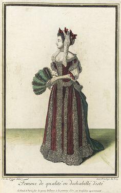 """1684 French Fashion plate """"Recueil des modes de la cour de France, 'Femme de Qualité en Deshabillé d'Esté'"""" at the Los Angeles County Museum of Art, Los Angeles"""