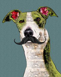 """Mustache, 11x14"""" Greyhound Pop Art Print, Whippet Art, Dog Portrait"""