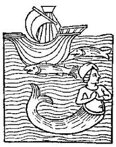 A mermaid; from Medieval Life Illustrations, Dover Pub., 1996