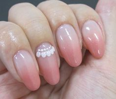 Gradient pale pink nail art with lace detail. #nails #nailart #manicure